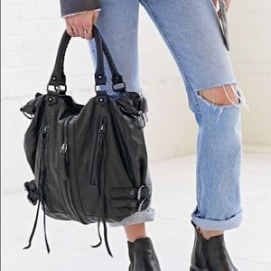 Silence & Noise Zip Front Moto Shoulder Hobo Bag